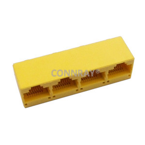 Top Entry(Vertical) RJ45 PCB Mount Jack 1X4 Multiports