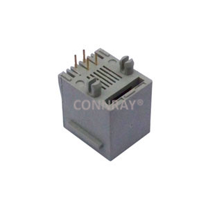 Vertical Mount 6P4C RJ11 Modular Connector with Panel Stop
