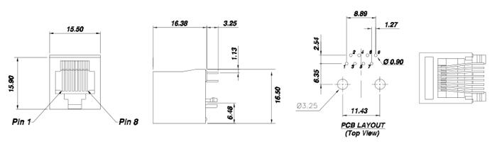 RJ45 Vertical Mount 8P8C Modular Jack Connector Specifications