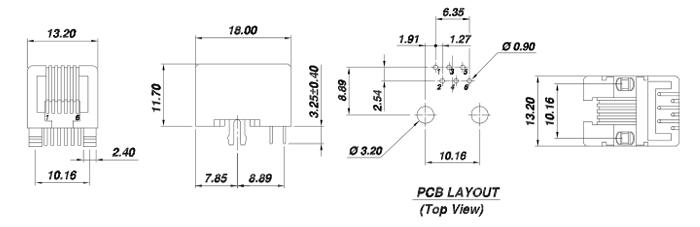 Right Angle Unshielded Single Port 6P6C RJ12 Jack Drawing