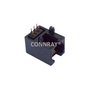 Right Angle Unshielded Single Port 6P6C RJ12 Jack