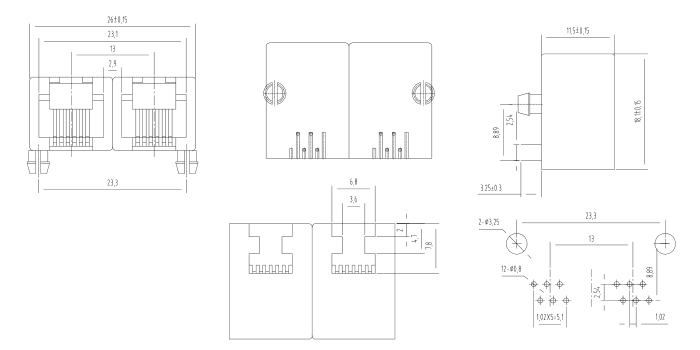 Side Entry RJ14 PCB Mount Jack 1X2 Multiports Drawing