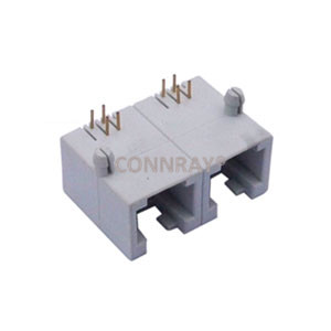 Side Entry(90 degree) RJ14 PCB Mount Jack 1X2 Multiports