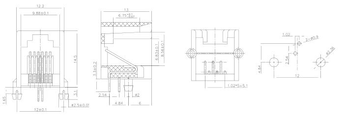 Side Entry Single Port Unshielded 6P2C Modular Jack RJ11 Specification