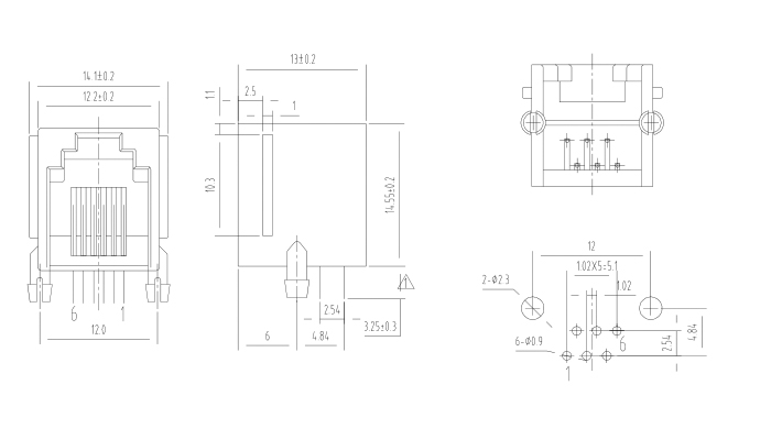 Side Entry 6P6C RJ11 Modular Jack Specification