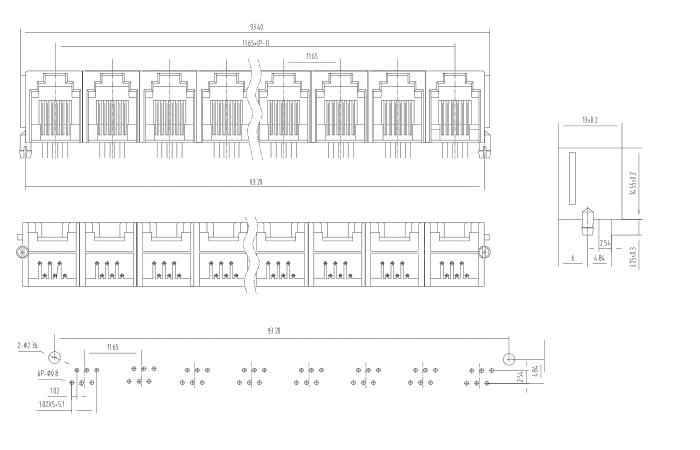 Side entry 1X5 multi ports RJ45 PCB Modular Jack Drawing