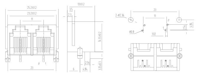 Multi ports 1X2 6P2C RJ11 PCB Mount Modular Jack Drawing