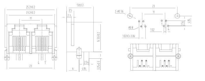 Multi ports 1X2 6P4C RJ11 PCB Modular Jack Drawing