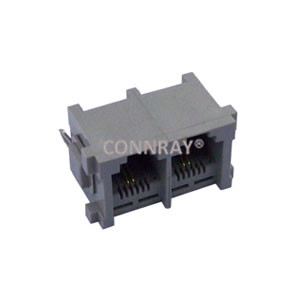 Multi ports Grey Color 1X2 6P2C RJ11 PCB Sockets with iron pegs
