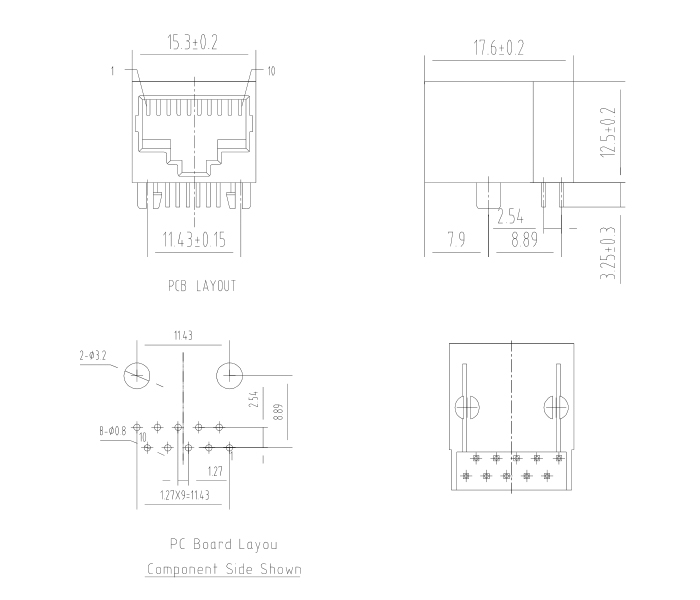 Side Entry Single Port Unshielded RJ45 Modular Jack Drawing