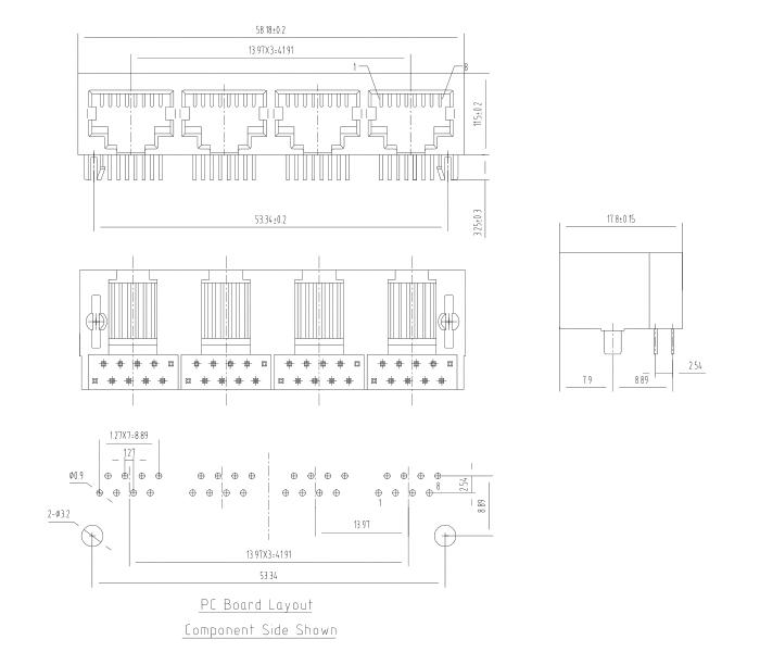 Unshielded 4 ports 1X4 8P8C RJ45 Right Angle PCB Modular Jacks Drawing