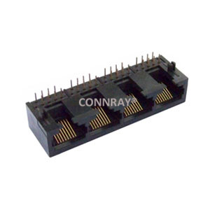 Unshielded 4 ports 1X4 8P8C RJ45 Right Angle PCB Modular Jacks