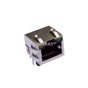 Right Angle Shielded 8P8C RJ45 LED PCB Modular Jack with EMI Fingers