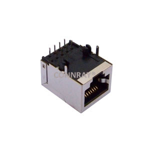 Right Angle Tab Down Shielded RJ45 Female Jack