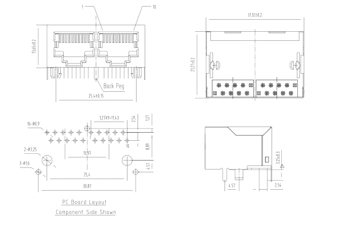 Side Entry 2 Ports Shielded 1X2 RJ45 Connector