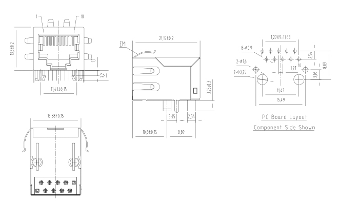 Shielded RJ45 Female Connector Drawing