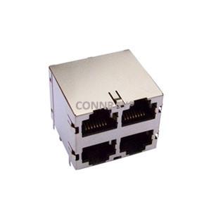 2X2 4 Ports 10P8C RJ45 PCB Ganged Jack