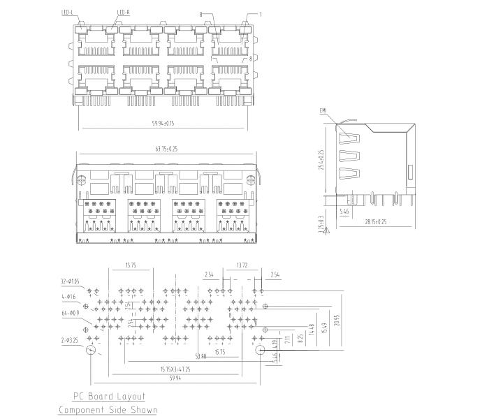 2X4 8 Ports Double Rows RJ45 LED PCB Modular Jack datasheet