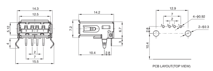 USB 2.0 Type A Female Connector R/A 4P with Kinked Legs Drawing