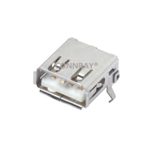 USB 2.0 Type A Female Connector R/A 4P with Kinked Legs