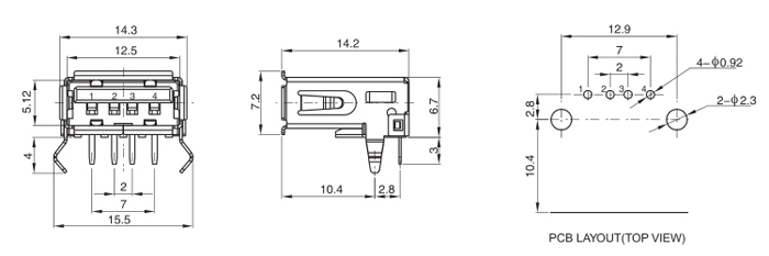 Right Angle 4Pins USB 2.0 A Female Connector Drawing
