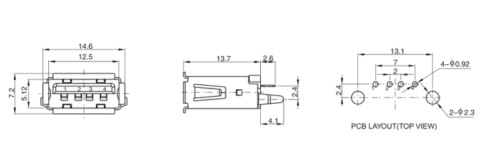 4 Position Vertical Thru Hole USB 2.0 AF Female Connector Drawing
