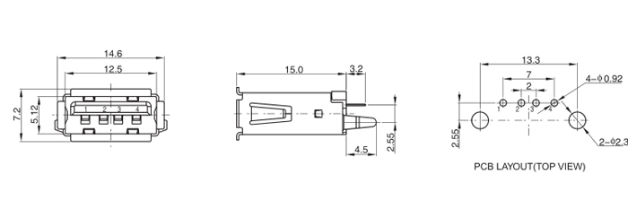 Vertical Mount 4Pins USB 2.0 A Type Female Connector Drawing