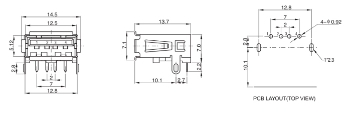 Right Angle 4 P USB A 2.0 Female Connector Straight Leg Drawing