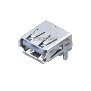 Right Angle 4 P USB A 2.0 Female Connector Straight Legs
