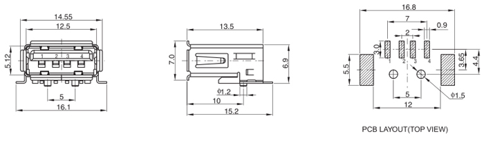 SMT USB 2.0 Jack Connector Right Angle 4 Position Drawing