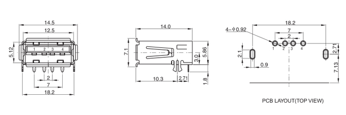 4P Thru-Hole USB 2.0 Female Socket Drawing