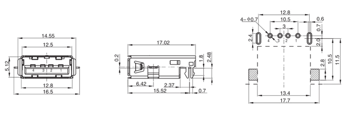 USB TYPE A 2.0 Female Connector Sink type Drawing