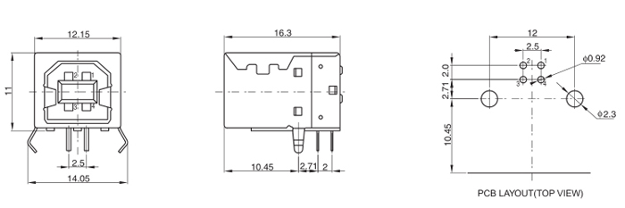 USB 2.0 B Type Right Angle 4P Connector Drawing