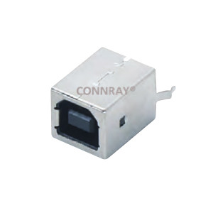 Vertical Mount USB B Type 2.0 Receptacle Kinked Legs