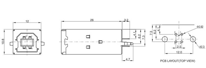 USB B Type 2.0 Vertical Mount Long Body Drawing