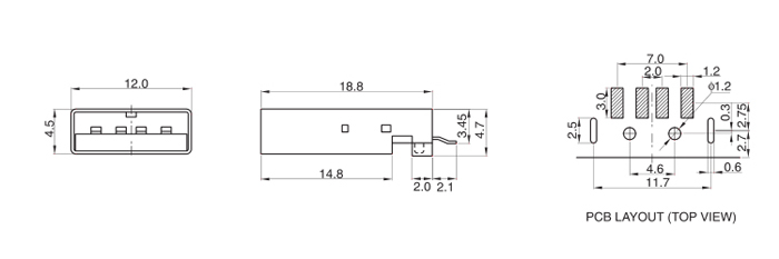 USB 2.0 AM Right Angle 4P Surface Mount Male Plug Male Usb Diagram Schematic on usb cable wiring, usb pinout diagram, usb electronic diagram, usb wiring diagram, usb plug diagram, iphone usb diagram, usb power diagram, usb pin diagram, usb schematic wire, usb port schematic, usb ac adapter, usb charger schematic, usb soldering diagram, usb to serial diagram, usb cable pinout, usb voltage diagram, usb to rs232 schematic adapter, usb system diagram, usb serial adapter, usb cable schematic,
