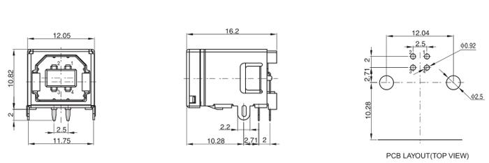 USB Type B 2.0 R/A 4Pins Drawing