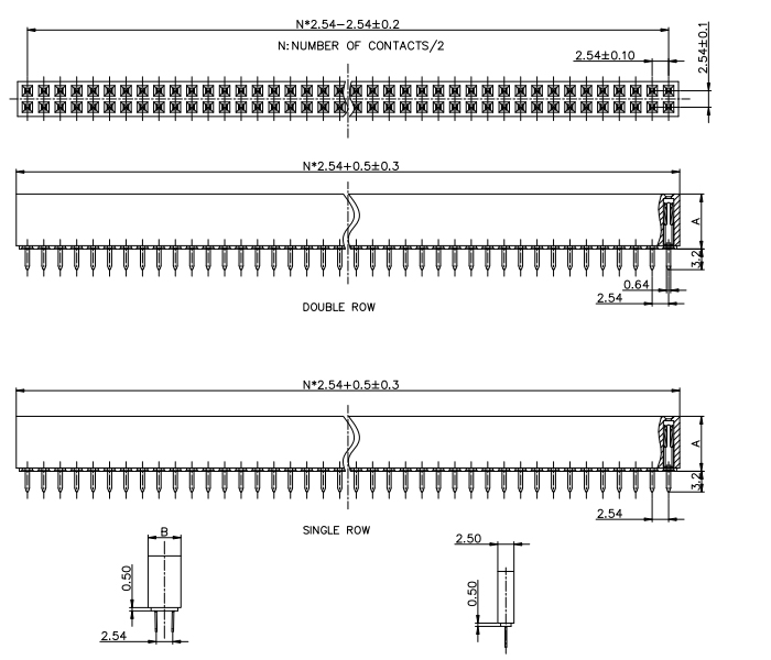 Vertical Through Dual Row 2.54mm Pitch Straight Female PIN Connector - Drawing