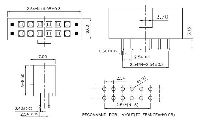Vertical Mount 2.54 Pitch Female Header Socket Double Row - Drawing