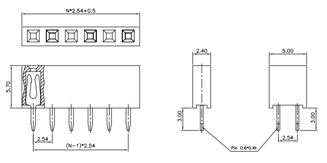 Top Entry Straight Female Header Connector Pitch 2.54mm 2PIN - Drawing
