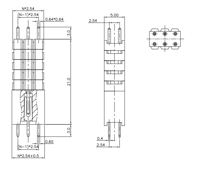 Vertical Through 2.54mm Pitch Stack Female Header - Drawing