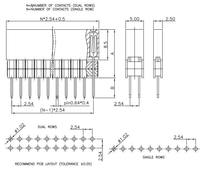 Top Entry Stacked Female Header Pitch 2.54mm 2*1 - 2*40 - Drawing