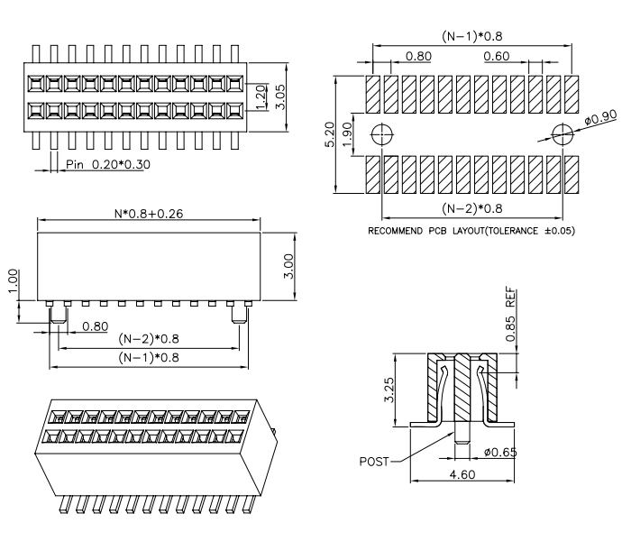 Dual Row 0.80mm Pitch SMT Female Header Connector - Drawing