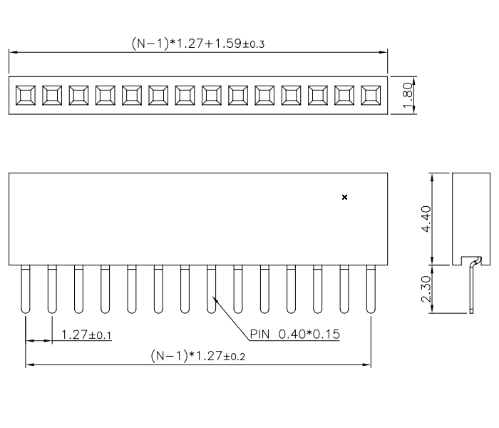 Top Entry Single Row Pitch 1.27mm Female Header Connector - Drawing