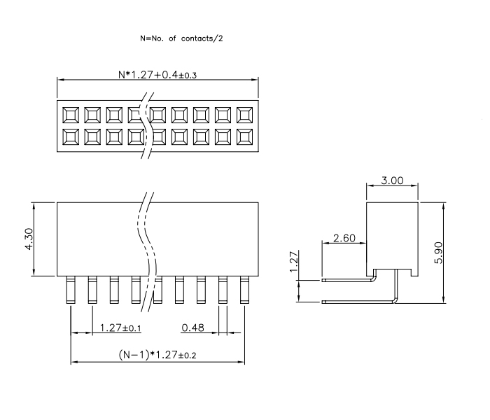 Right Angle Dual Row 1.27mm Pitch Female Header - Drawing