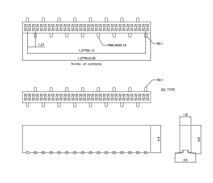 Single Row SMT 1.27mm Pitch 16P Female Header Vertical Mount - Drawing