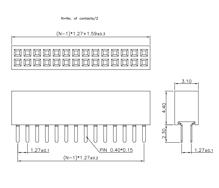 Dual Row 1.27mm Pitch 28P Female Header Top Entry - Drawing
