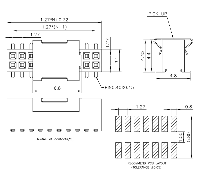 Dual Row SMT 1.27mm Pitch 20P Female Header Connector - Drawing