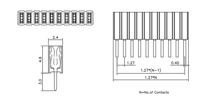 Vertical Through Single Row Female Header 1.27mm Pitch - Drawing