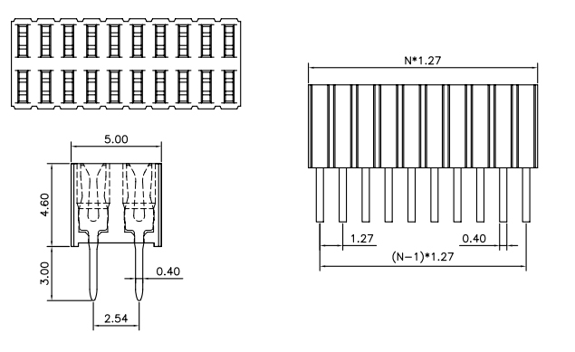 V/T Dual Row Female Header Pitch 1.27mm H=4.6mm -Drawing